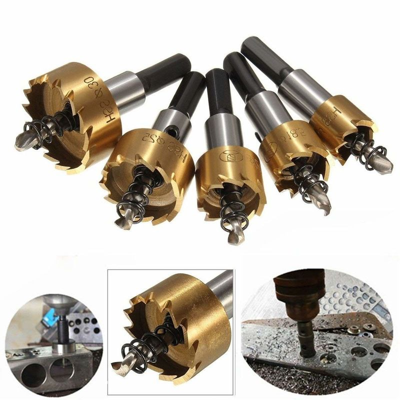 5pcs HSS Hole Saw Drill Bit Set / HSS Hole Cutter Kit With Ti-Coated Surface